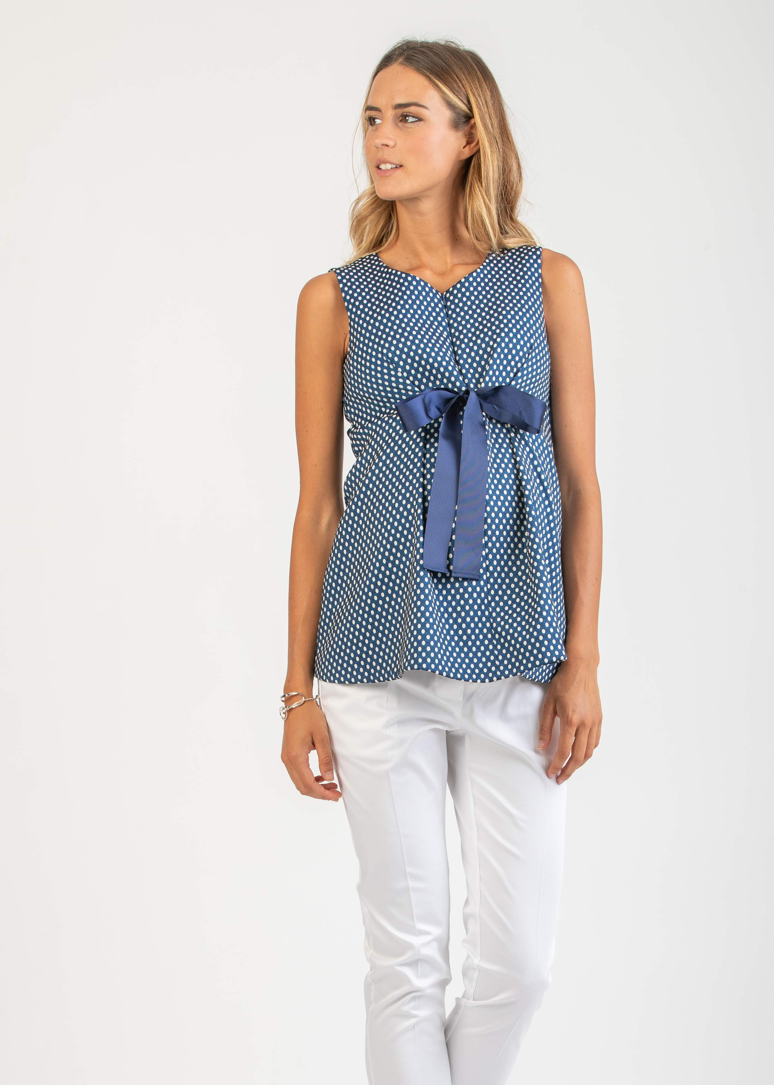 Polka Dot Maternity & Nursing Top with Bow