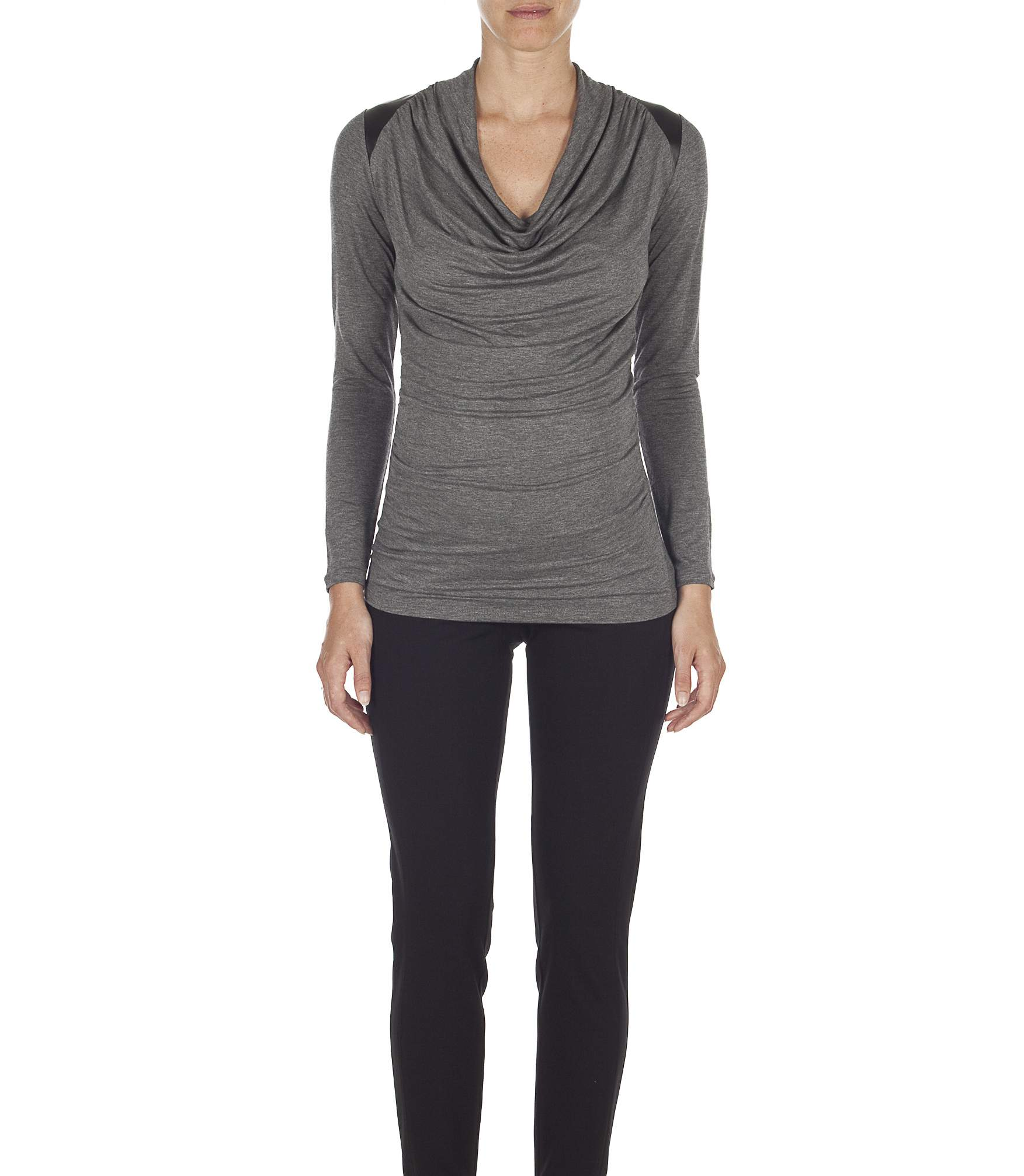 Top with shoulder tabs in imitation leather ...