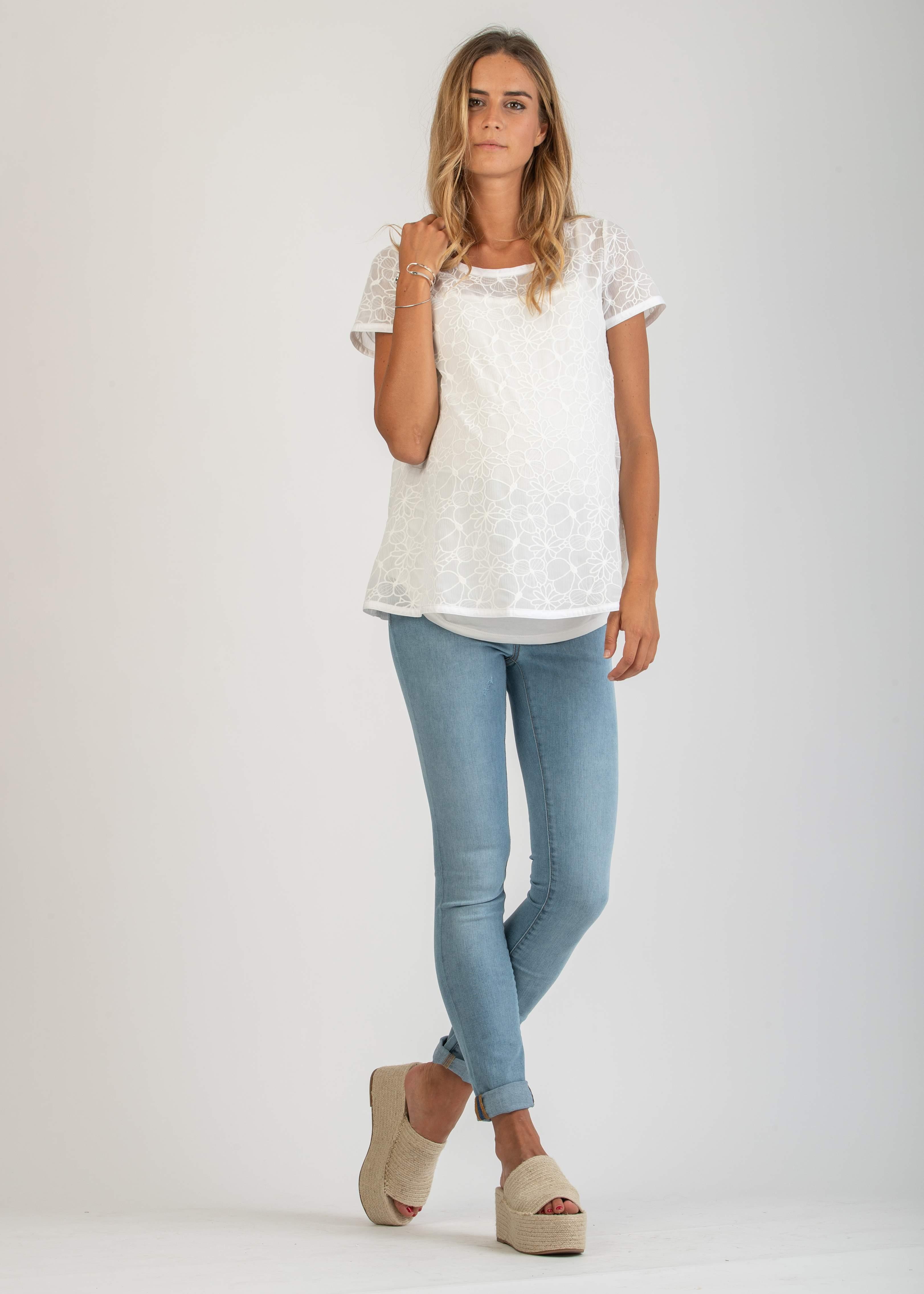 ed897a9141a2 Jeans - Jeans Skinny Premaman con Effetto Slavato Chiaro