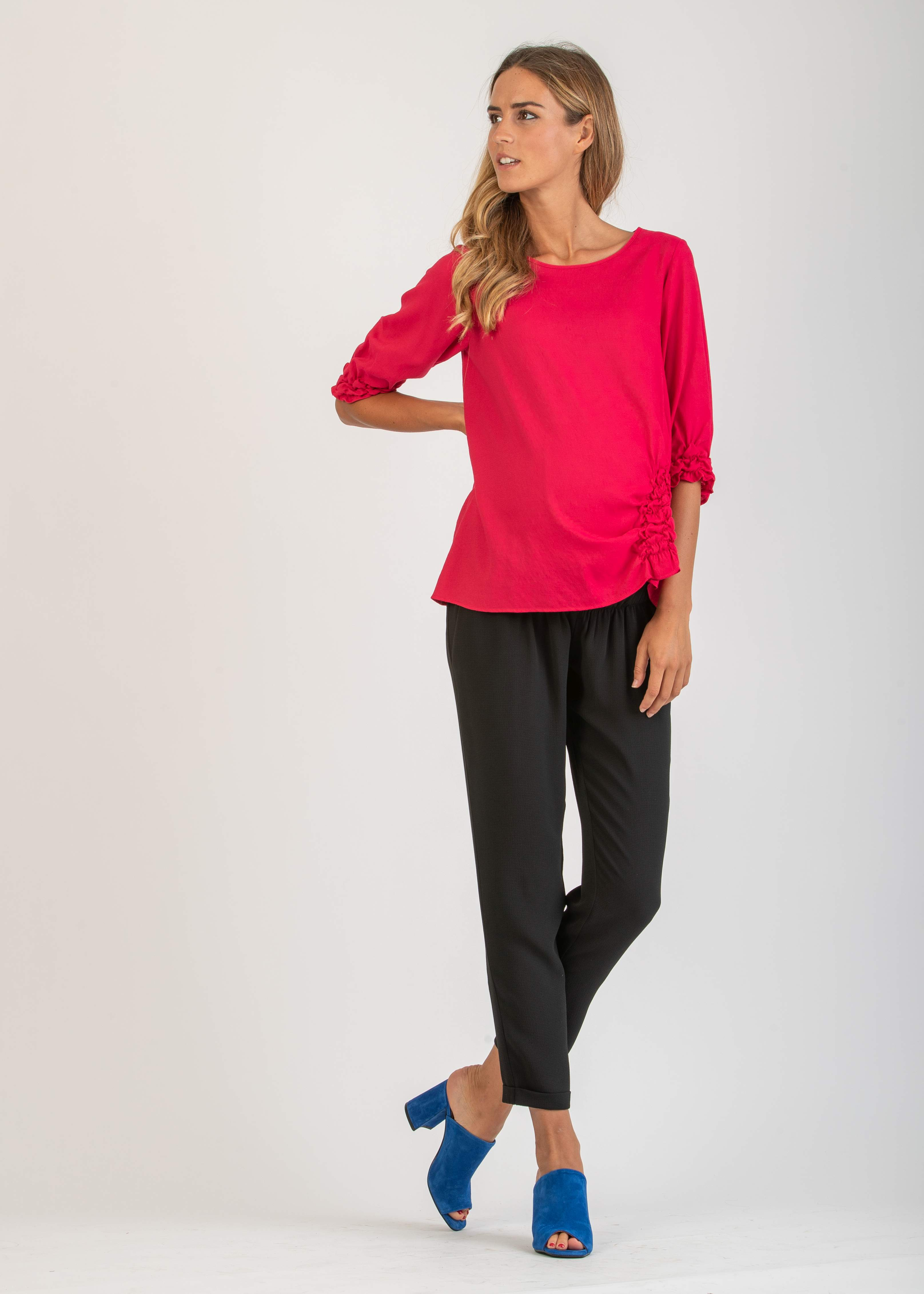 3/4 Sleeve Maternity Blouse with Ruffles