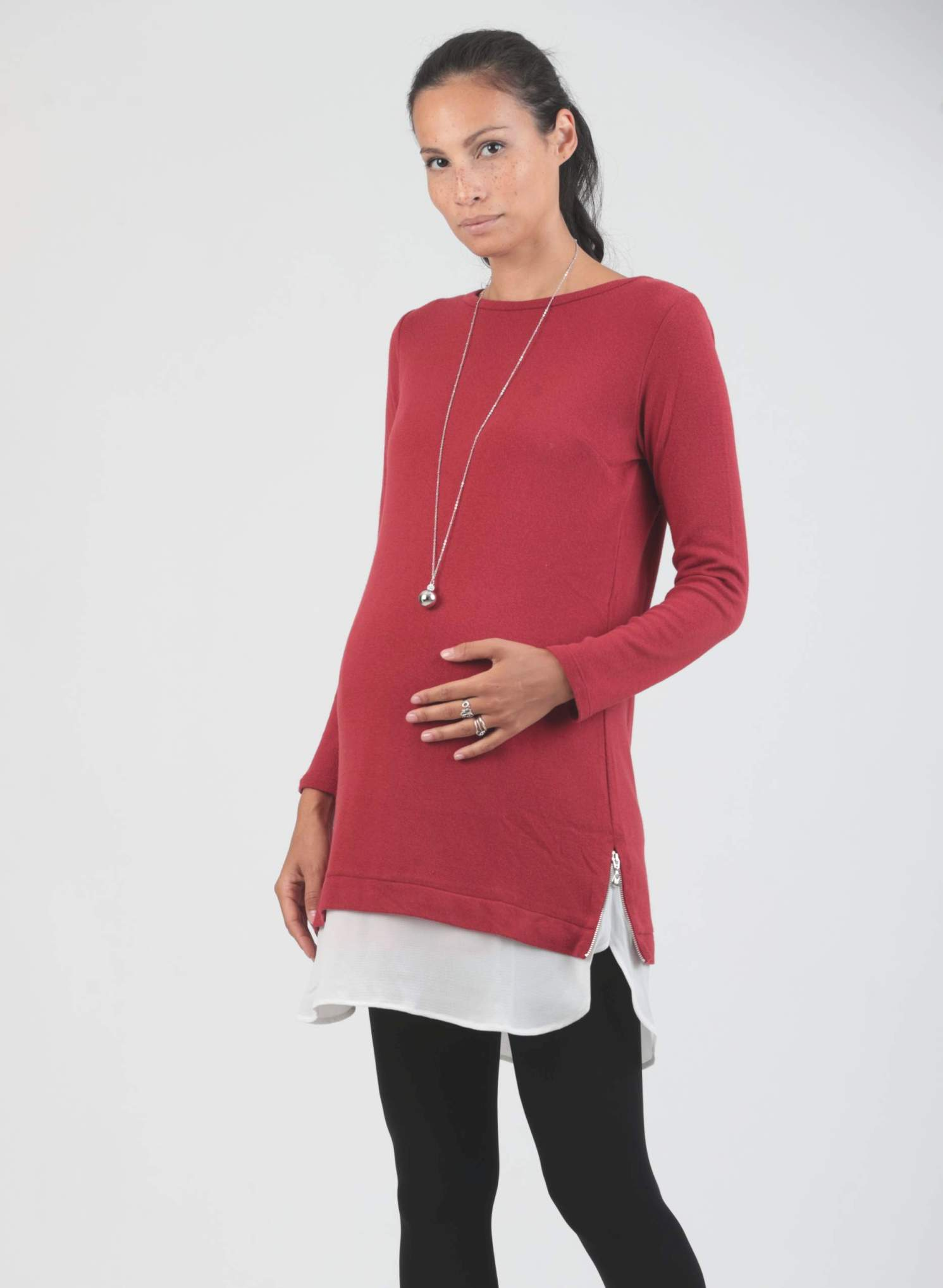 Wool Maternity Dress with Silky Shirt