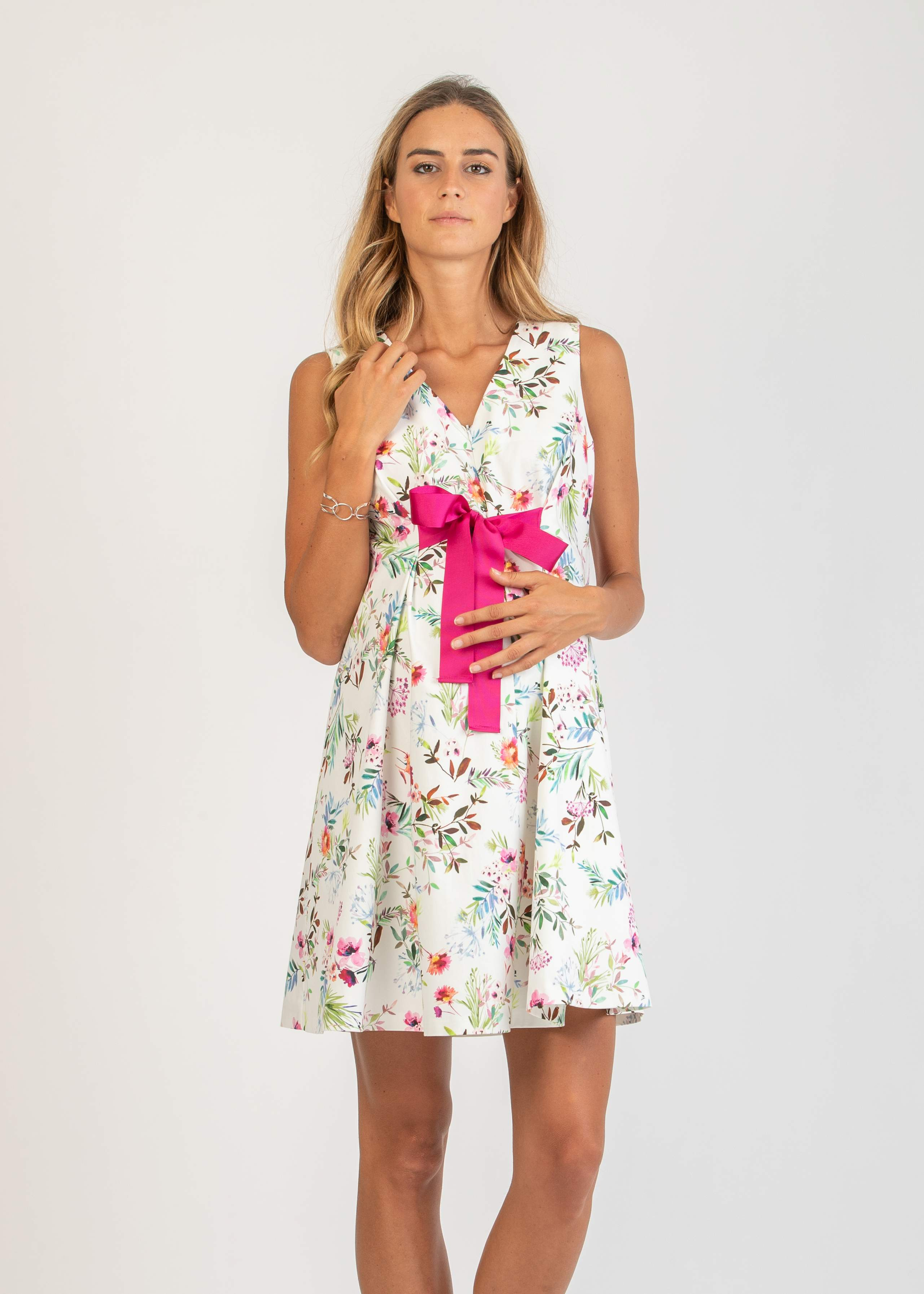 Floral Maternity & Nursing Dress with Bow
