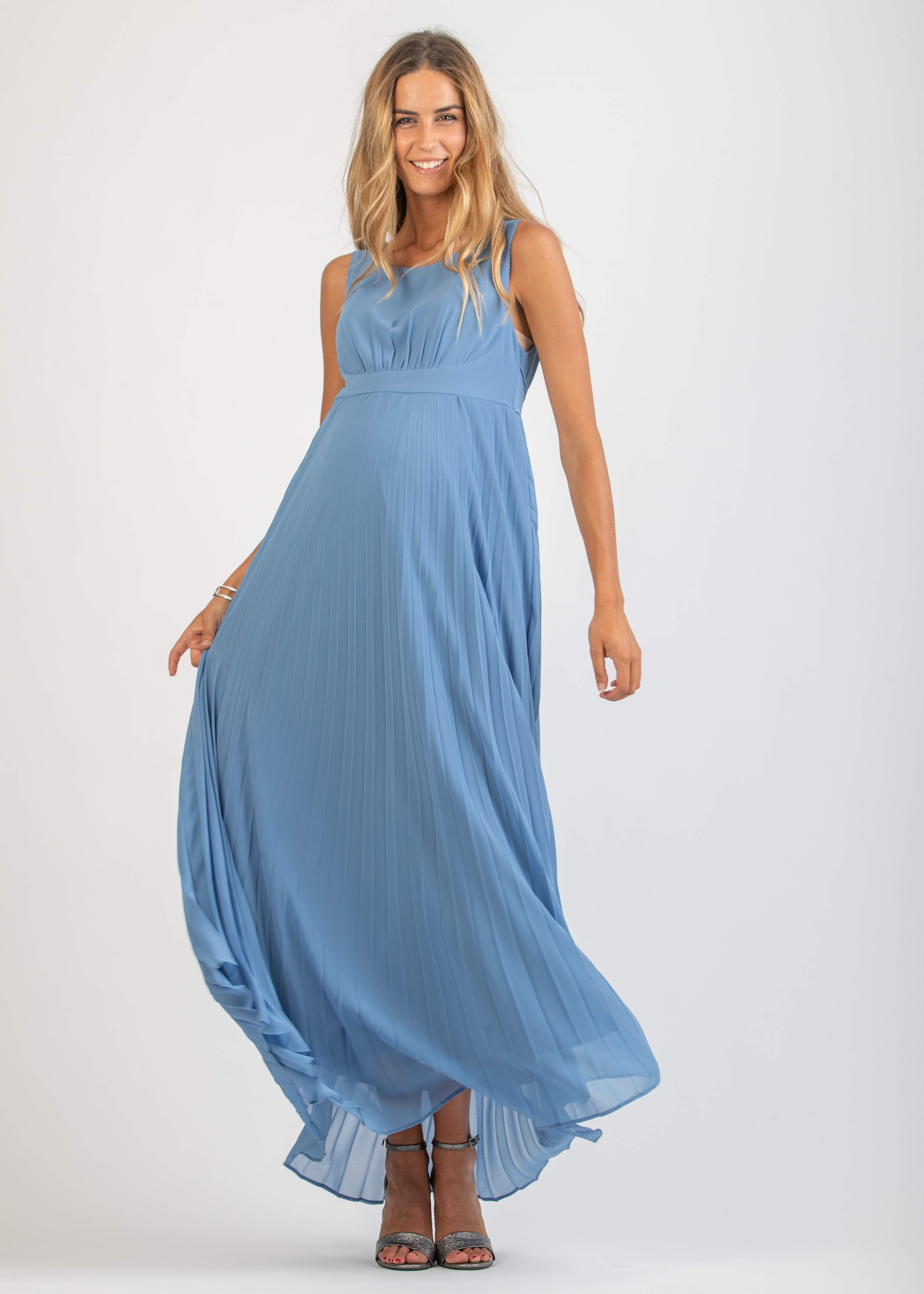 Long Maternity Dress with Soleil Pleated Skirt
