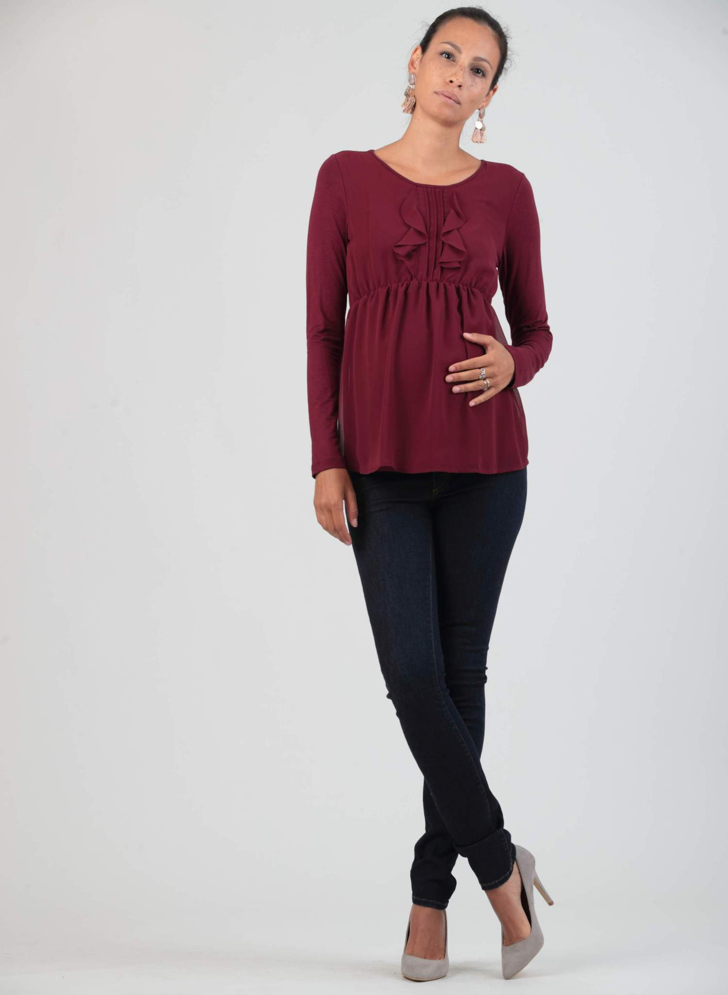 Maternity Top with Chiffon Frills