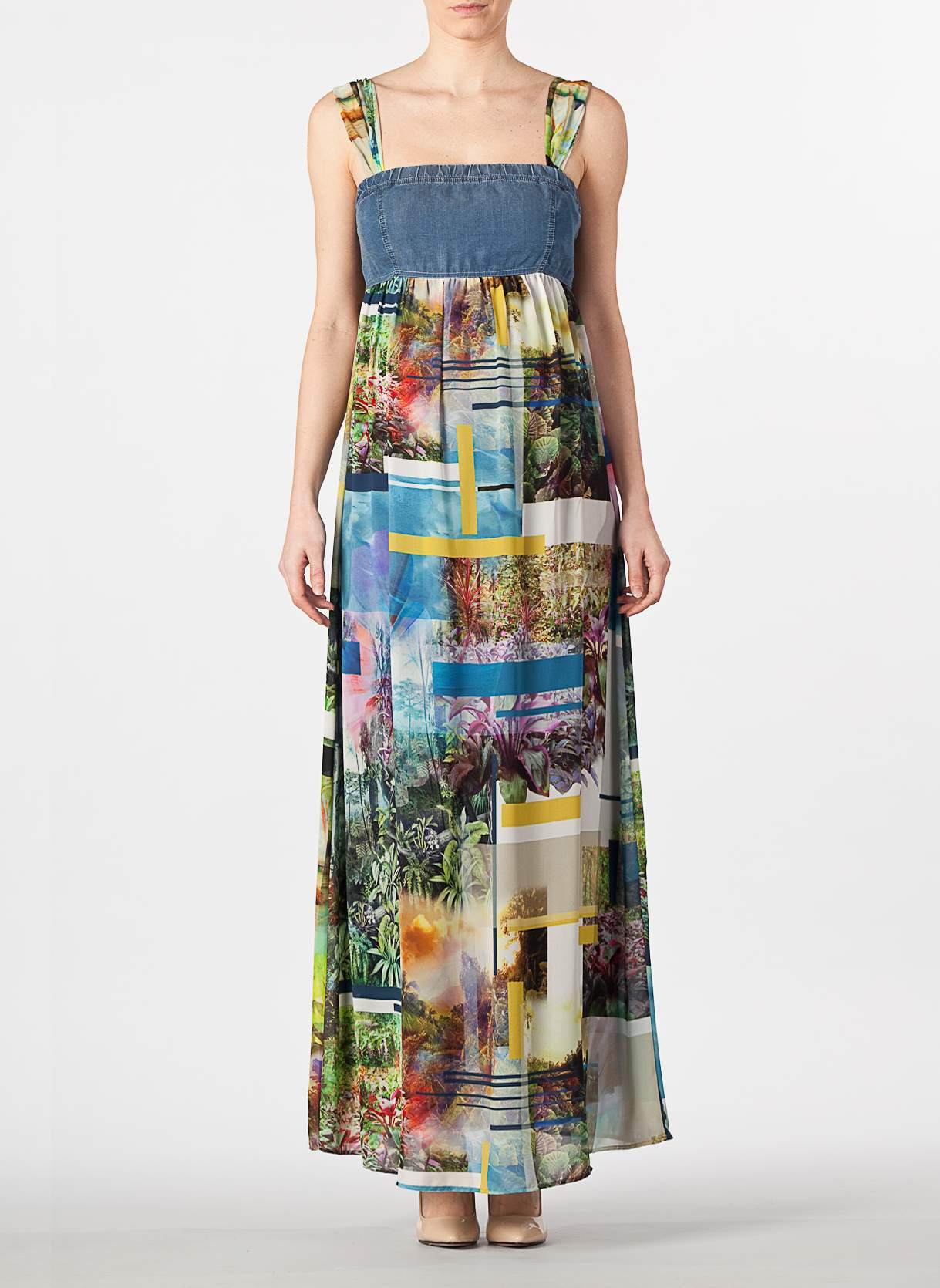 Denim Bodice Maternity Maxi Dress