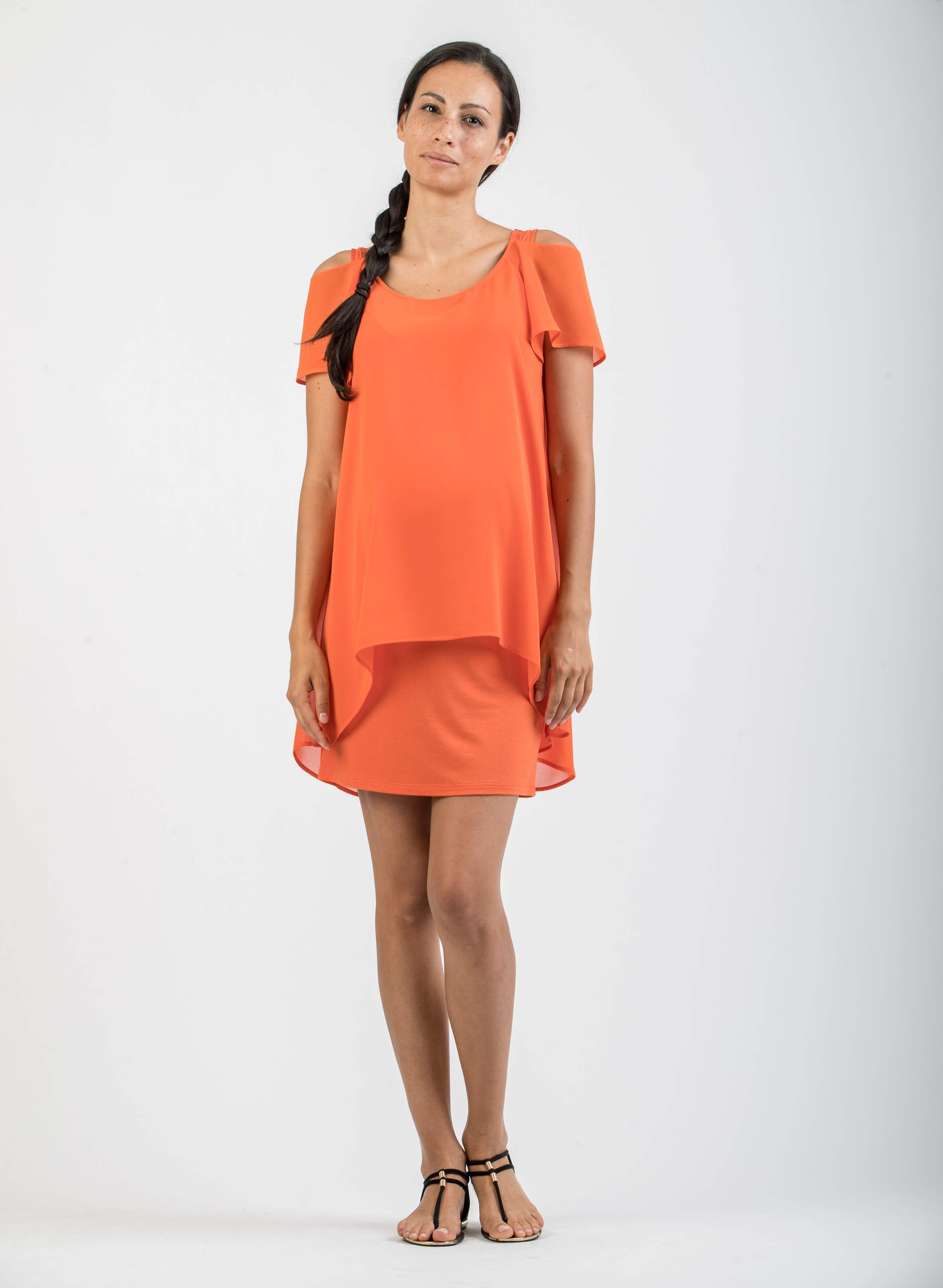 Maternity dress with frilly sleeves abbigliamento premaman maternity dress with frilly sleeves ombrellifo Choice Image