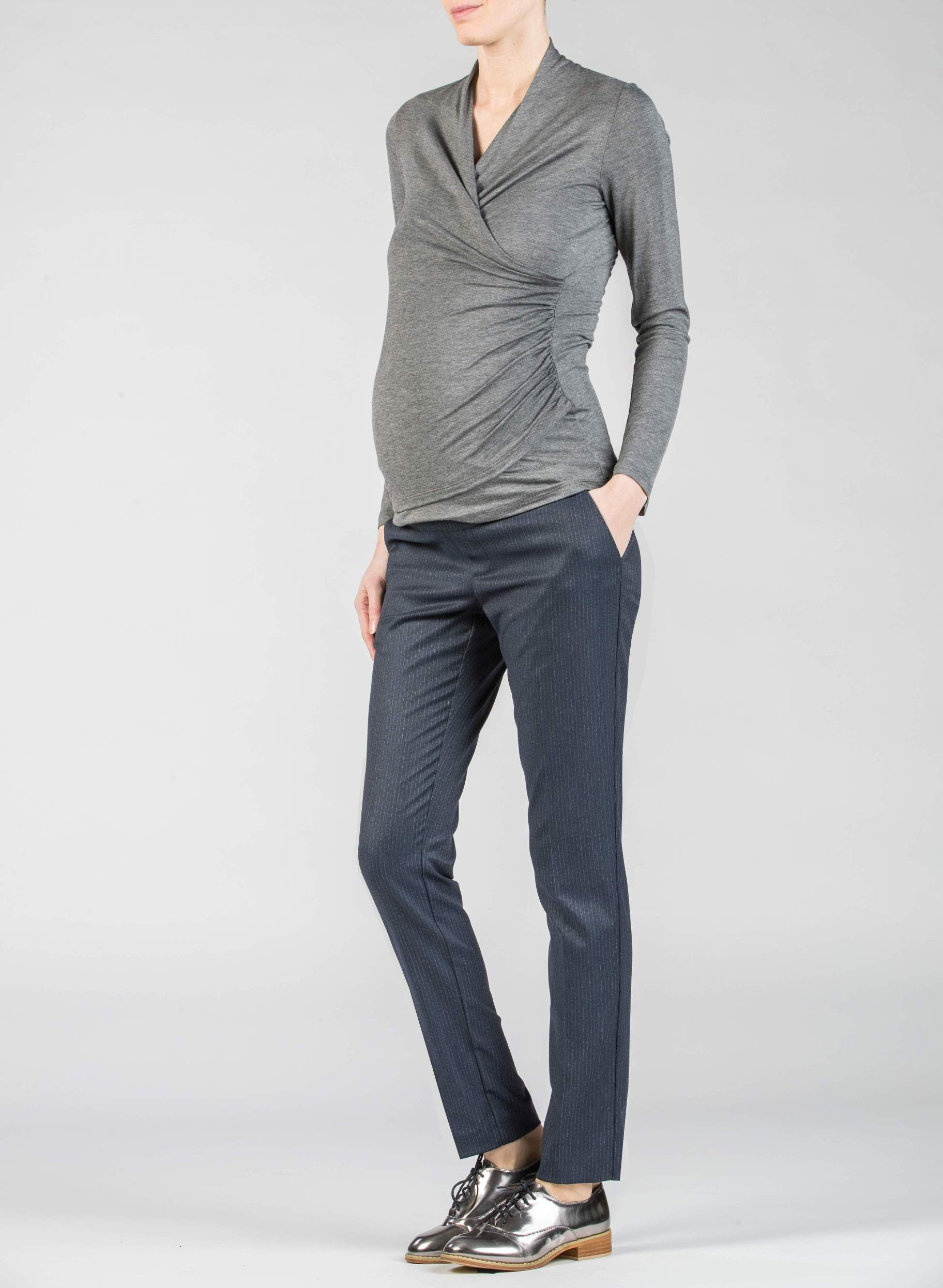 nuovo arrivo 2b012 12c61 Pantaloni - Pantalone Premaman Slim Fit Gessato | Attesa ...
