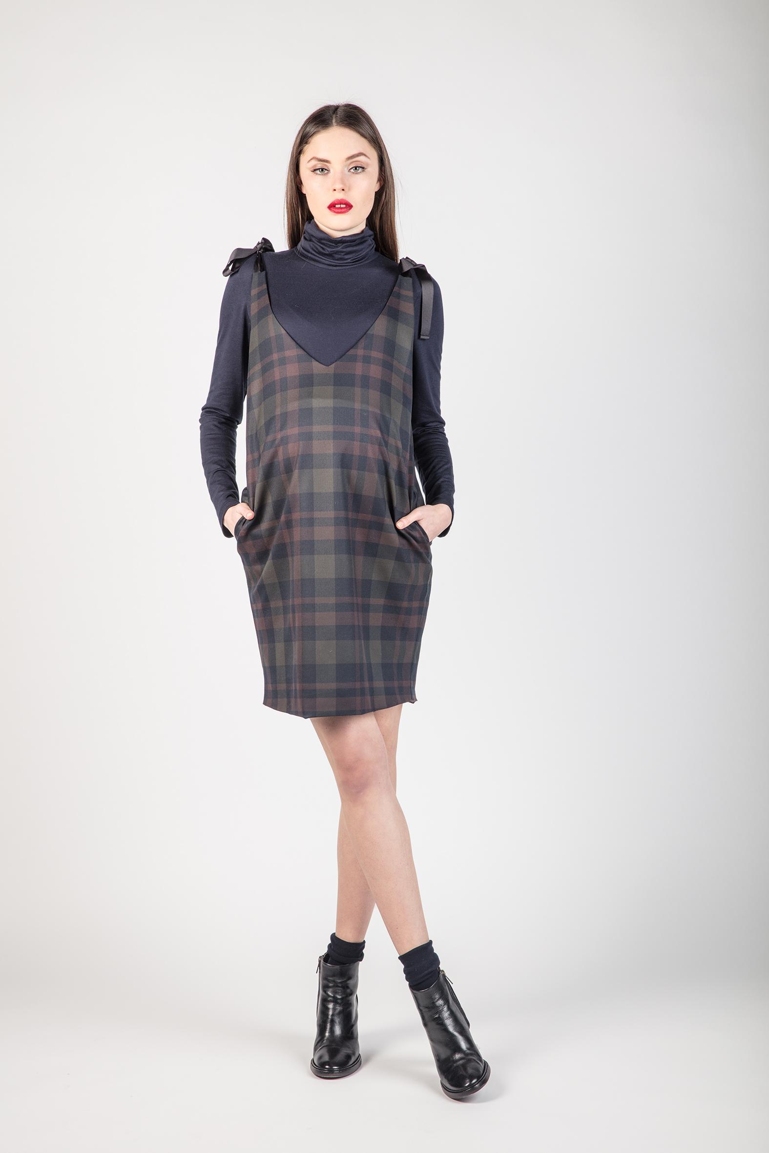 Checked pinafore maternity dress abbigliamento premaman ombrellifo Image collections
