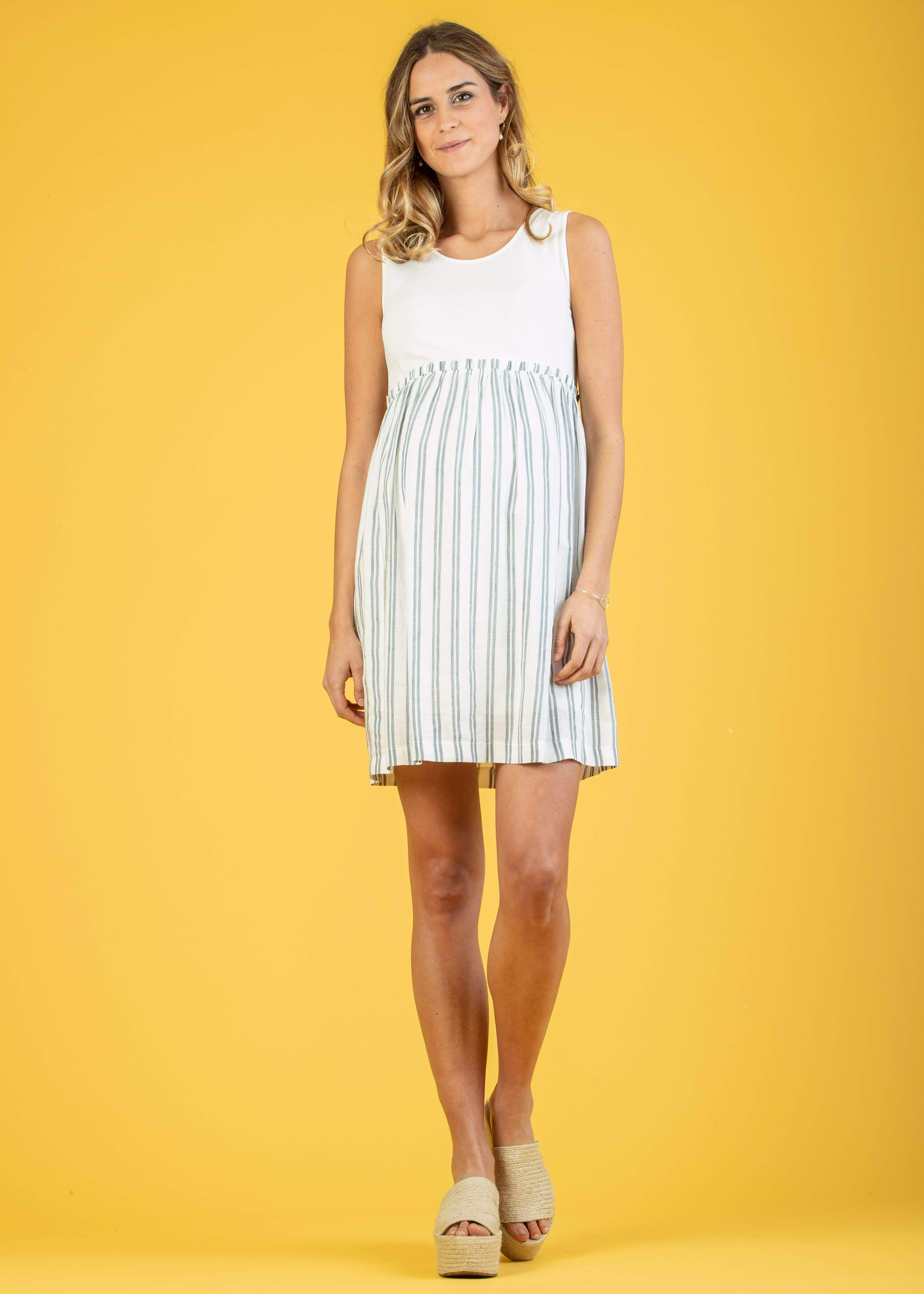 5fb04d229a803 Dresses - A-line Maternity Dress with Striped Skirt | Attesa Maternity