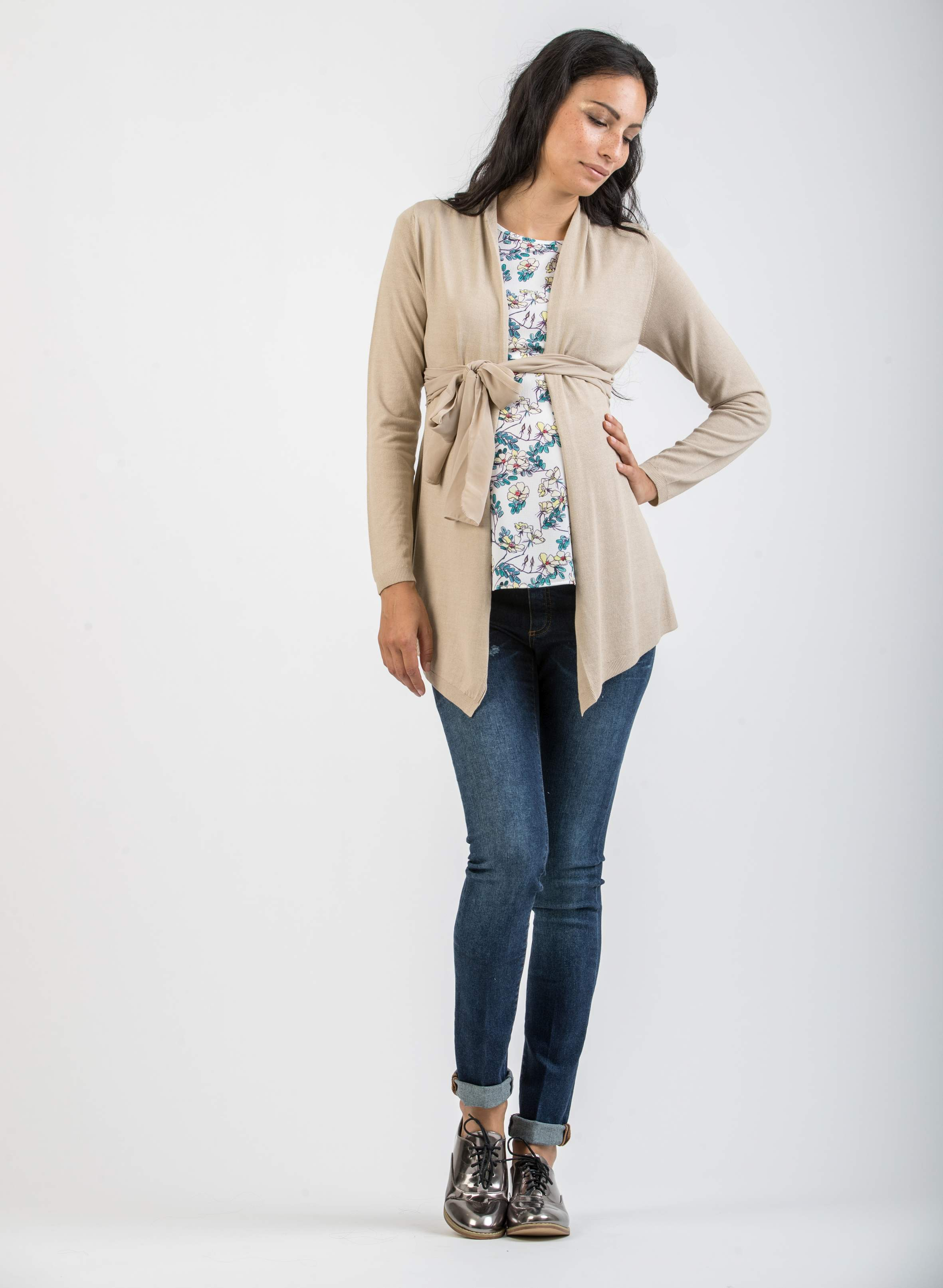 Draped Maternity Cardigan with Silk Belt