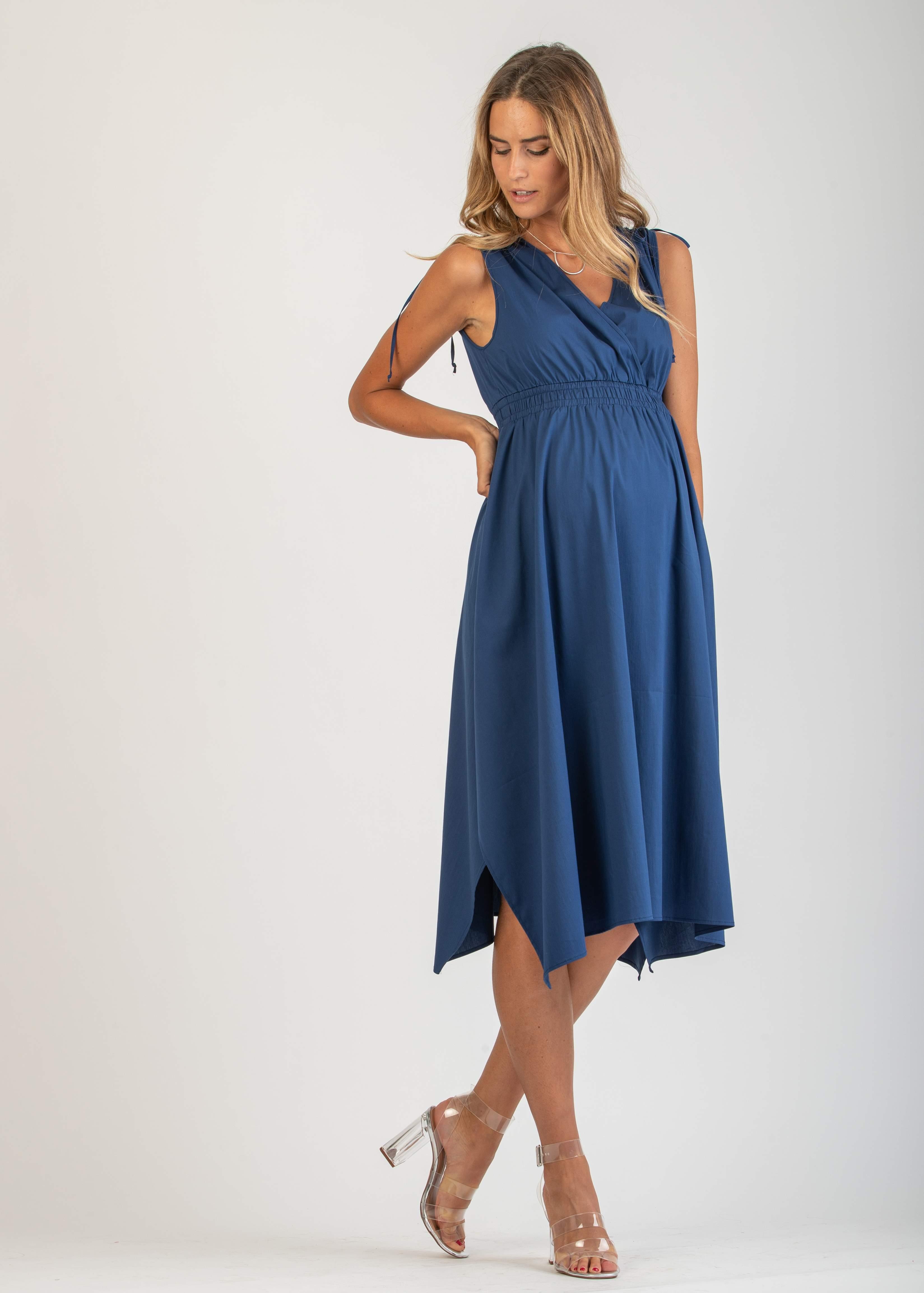 c9f79aa41ac6 Nursing - Midi Wrap Maternity Dress with Empire Waist Elastic Band ...