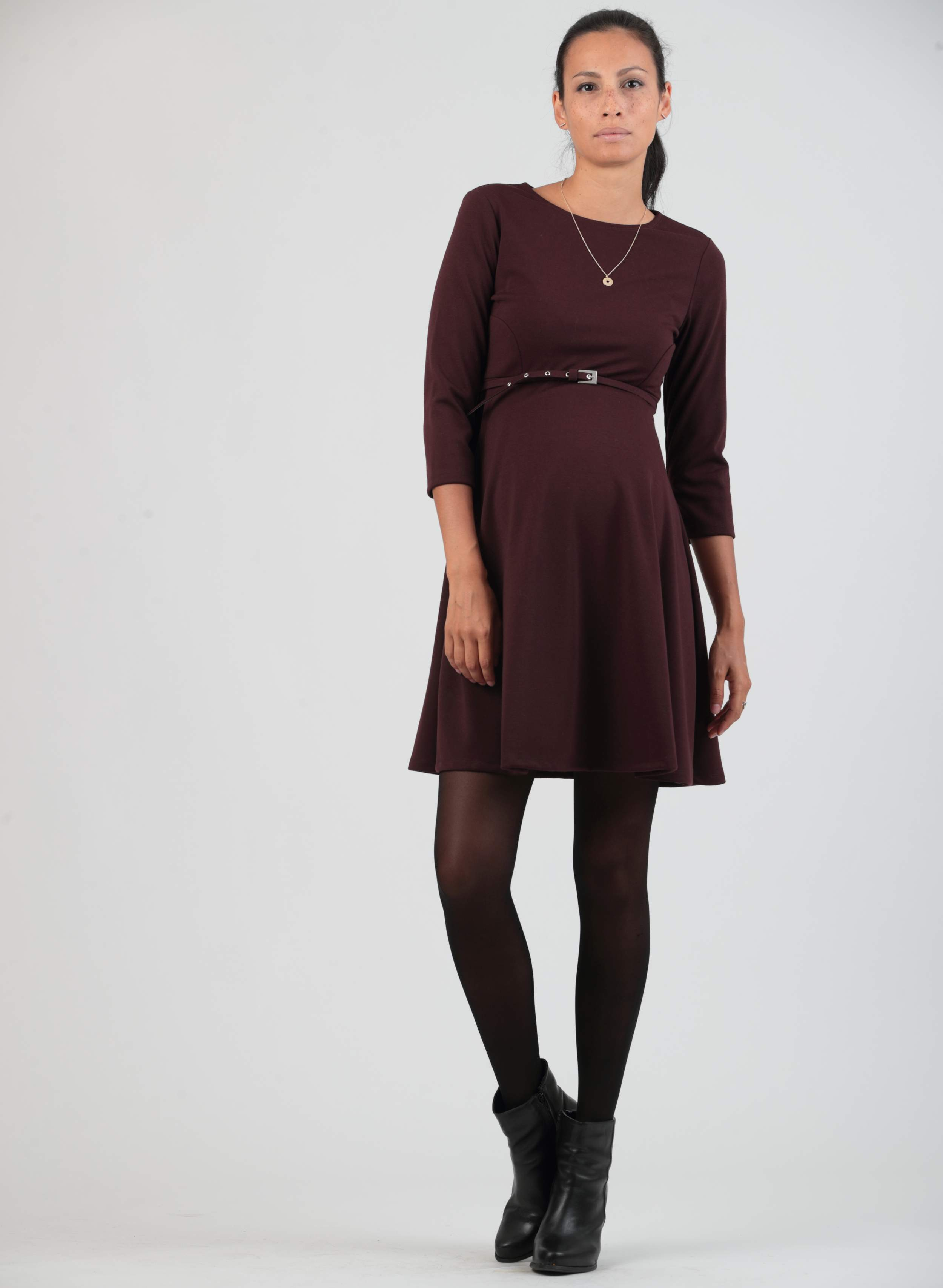 A line maternity dress with belt abbigliamento premaman ombrellifo Image collections