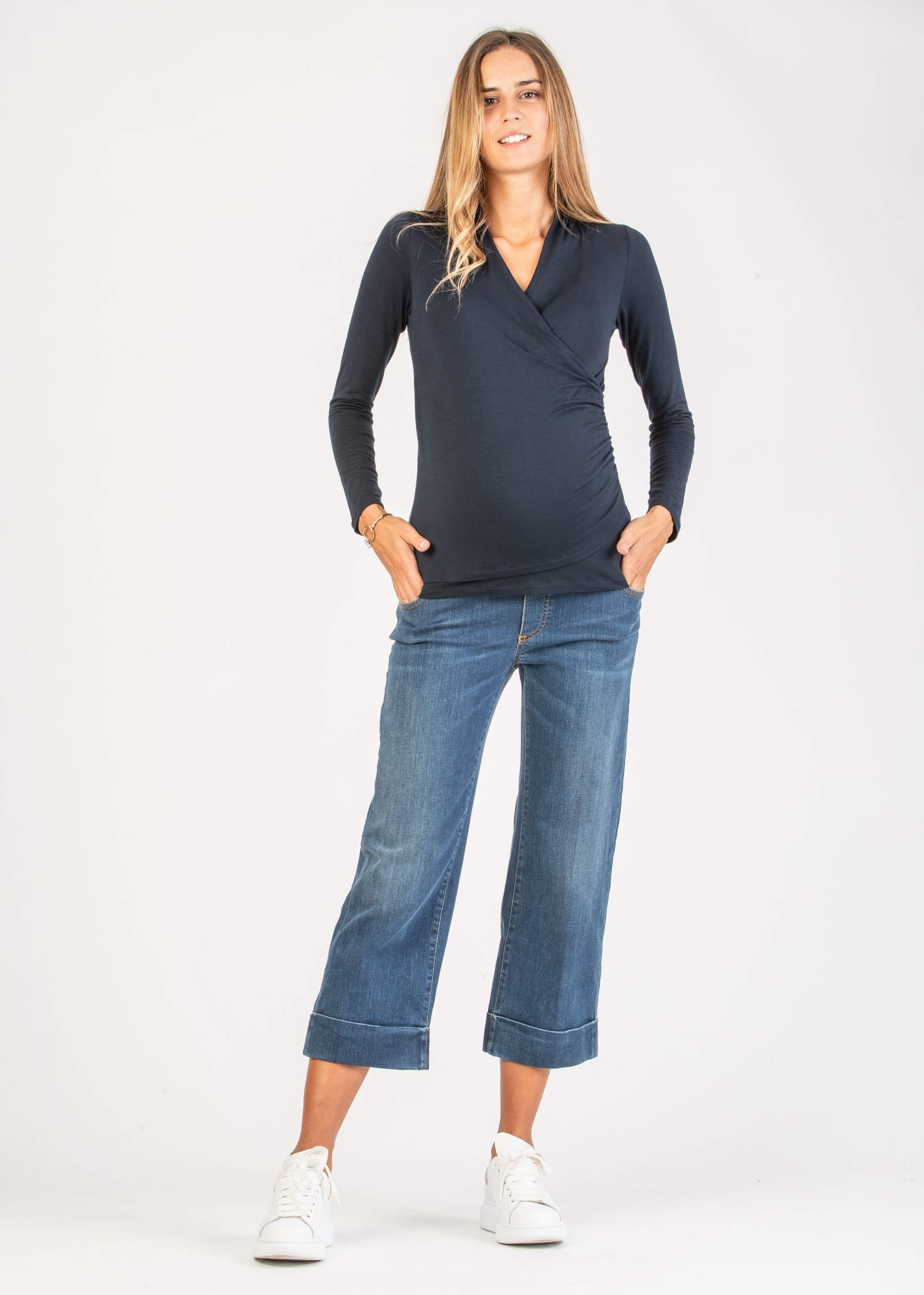 d163b04588bc Jeans - Jeans Culotte Premaman con Risvolto
