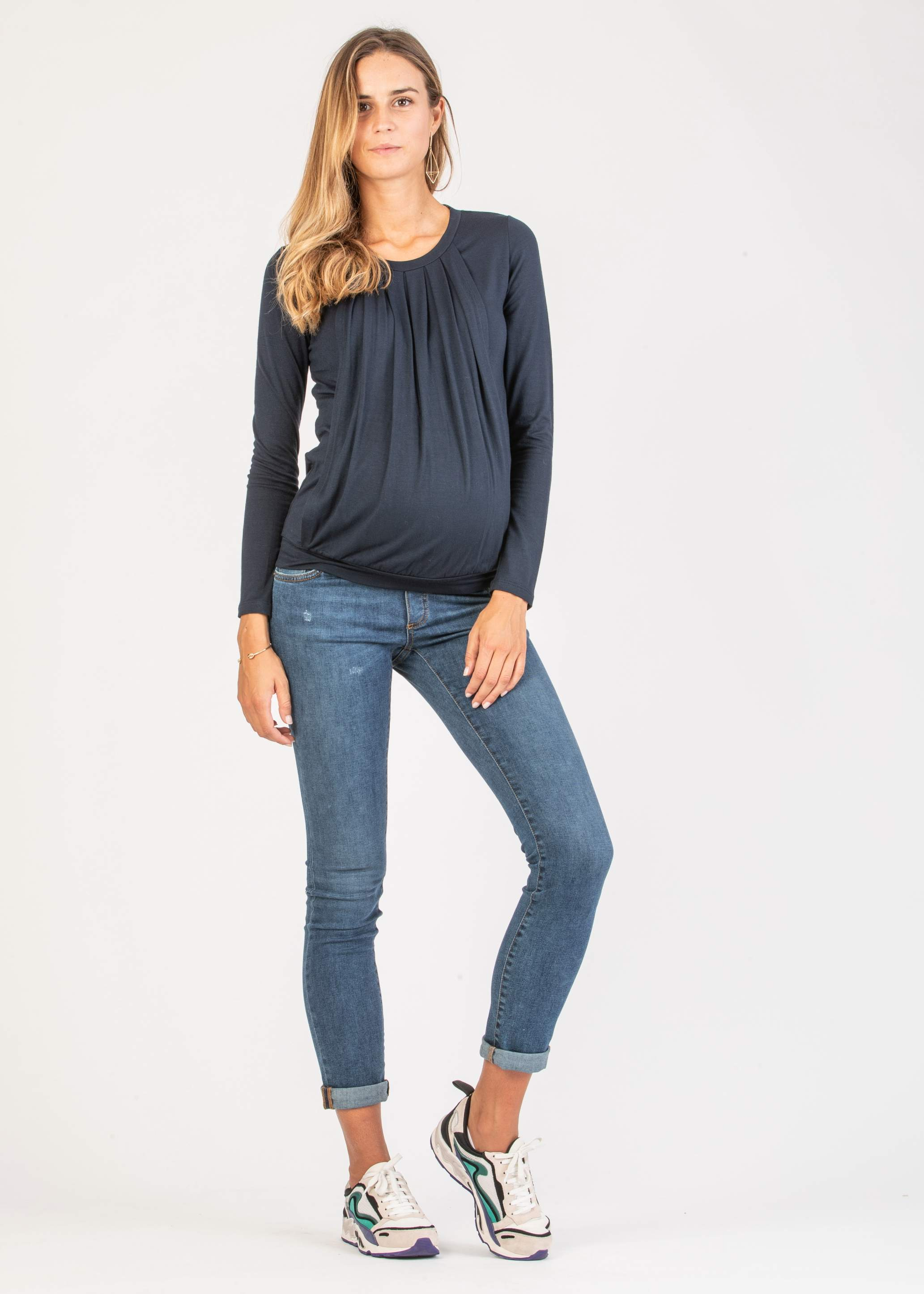 Long Sleeve Maternity & Nursing Top with Front Drapery