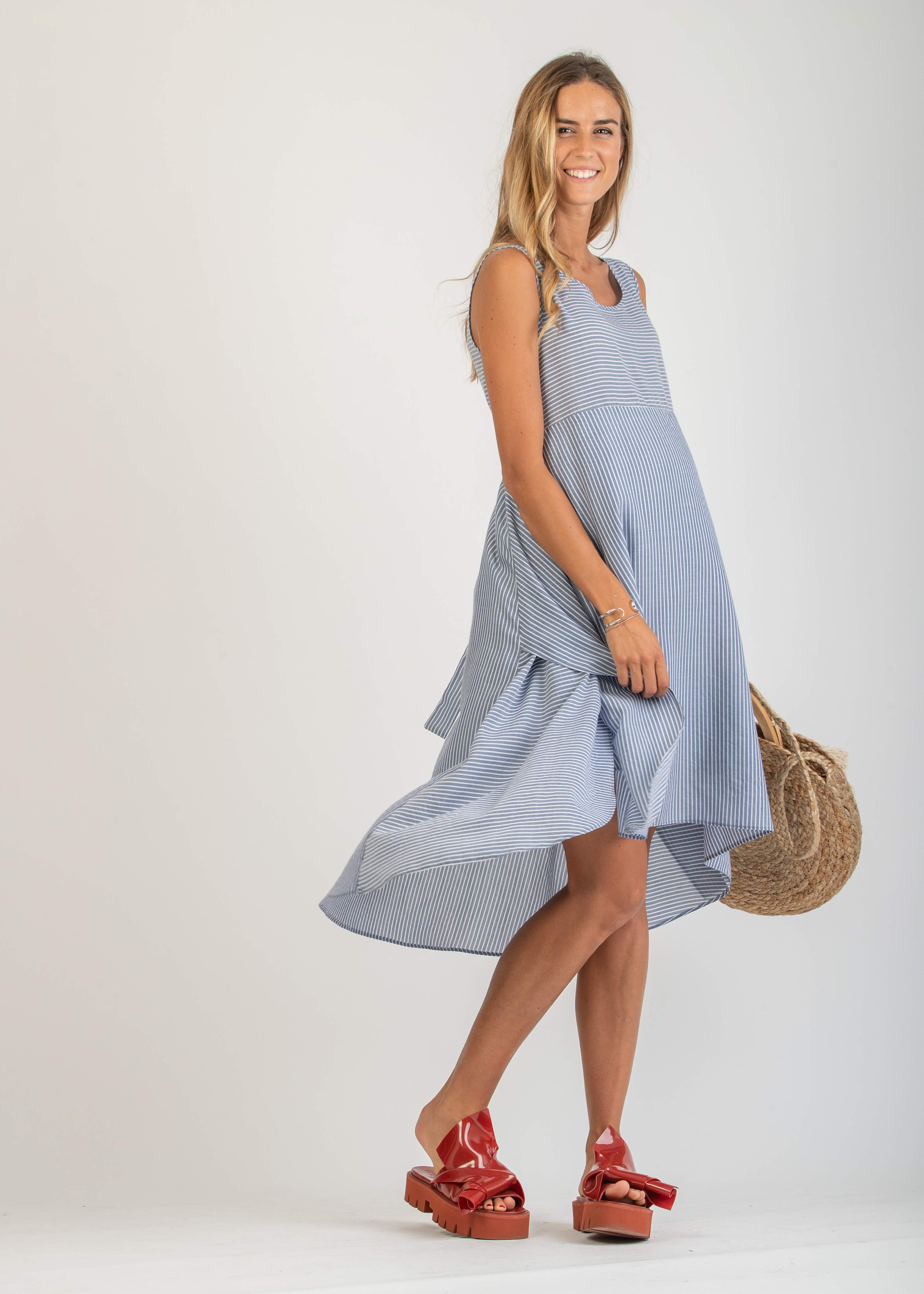 Midi Maternity Dress with Asymmetric Hemline