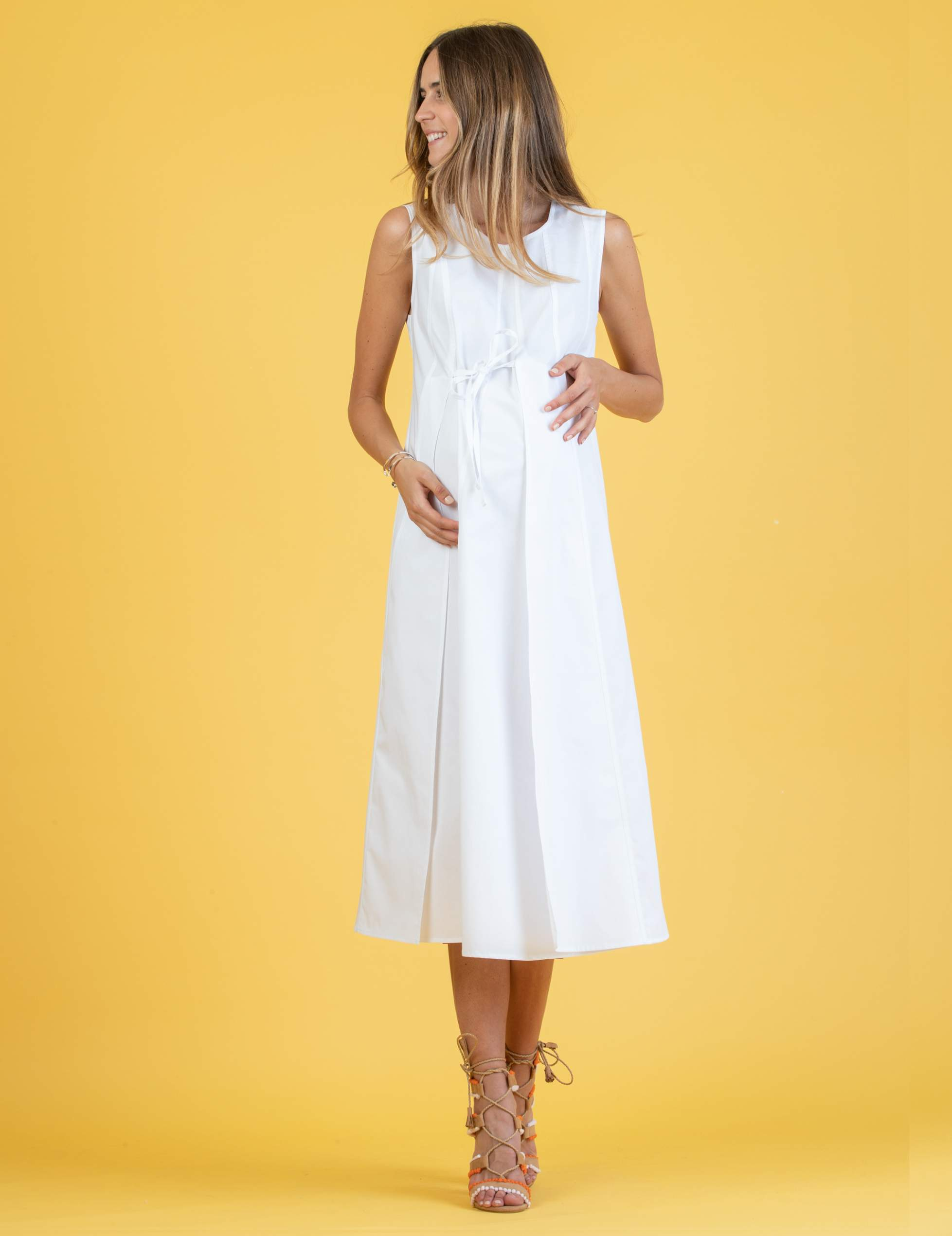 Midi Maternity Dress in Cotton with Front Small Cord