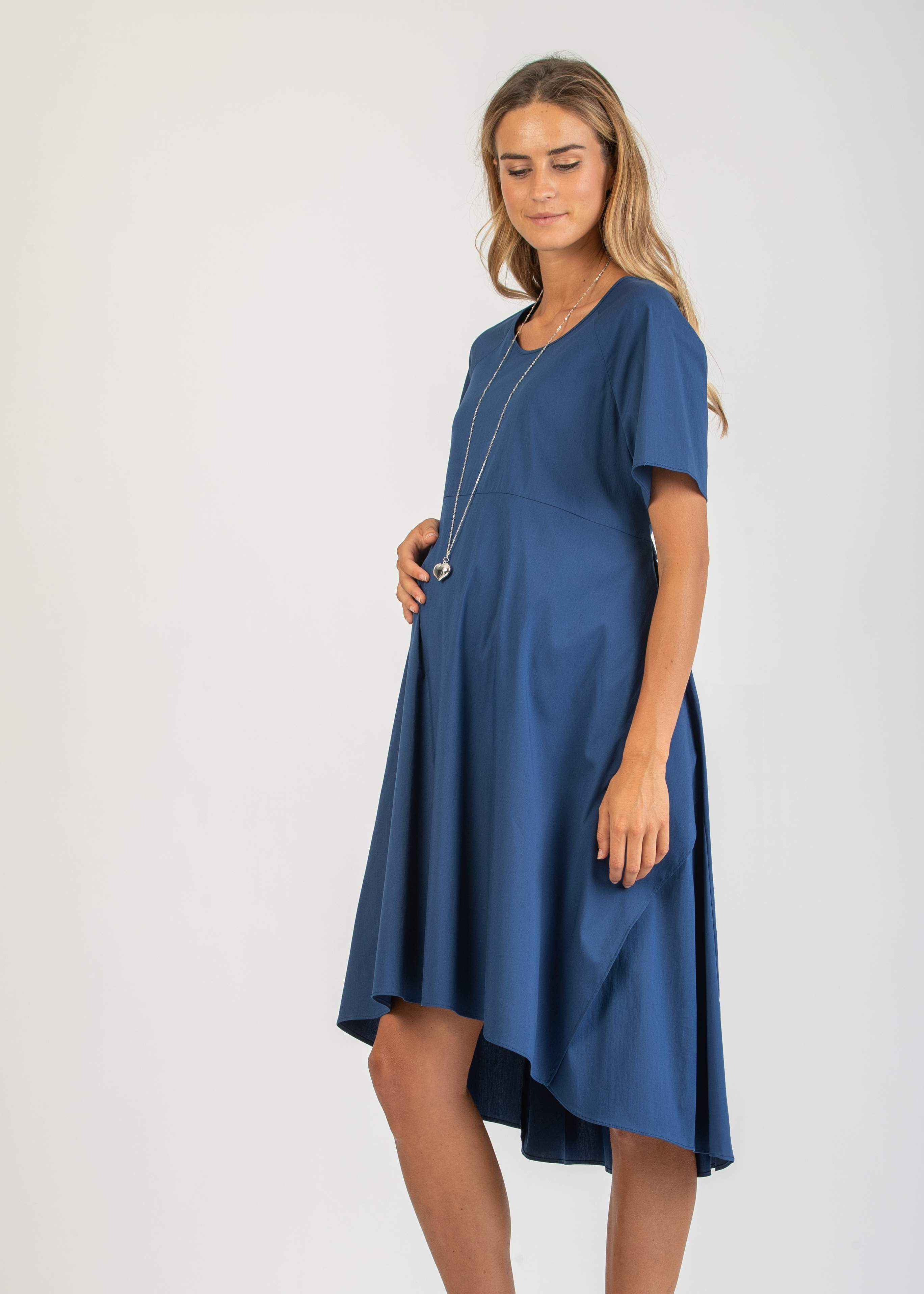 Midi Maternity Dress with Belt and Back Opening