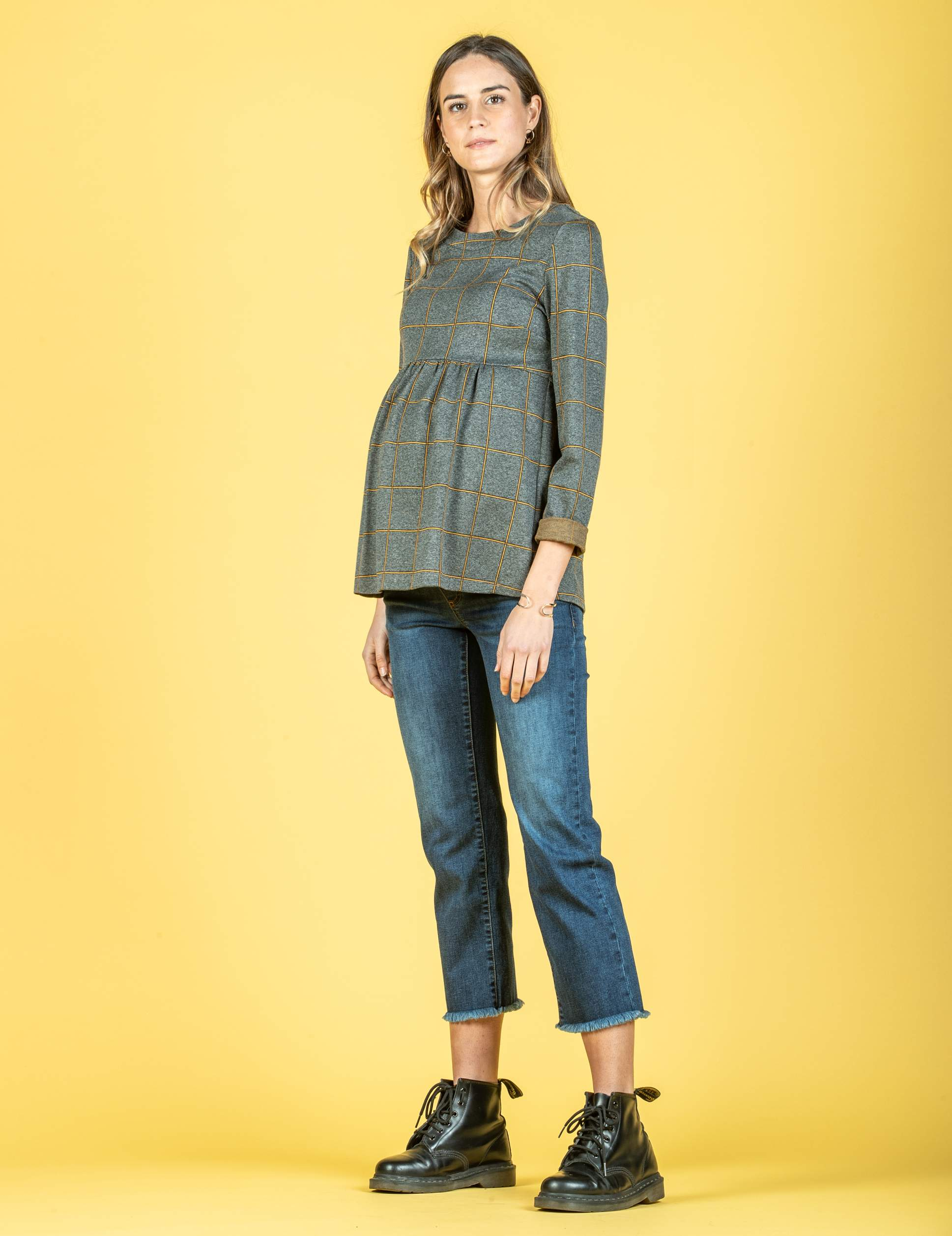 Long Sleeve Maternity Top in Checked Jacquard