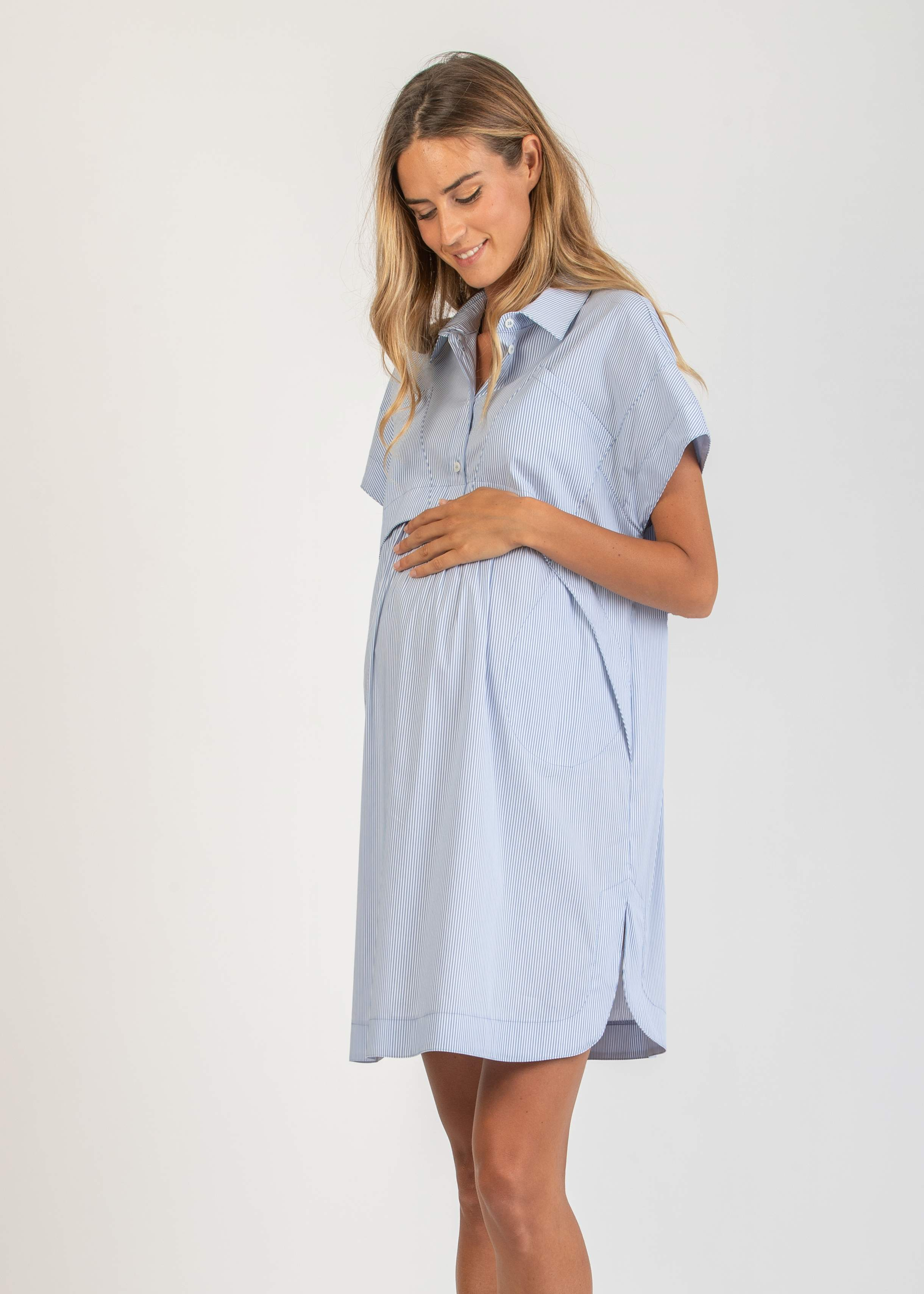742aceb7945 Nursing - Loose-Fitting Maternity Dress with Front Pockets   Attesa ...
