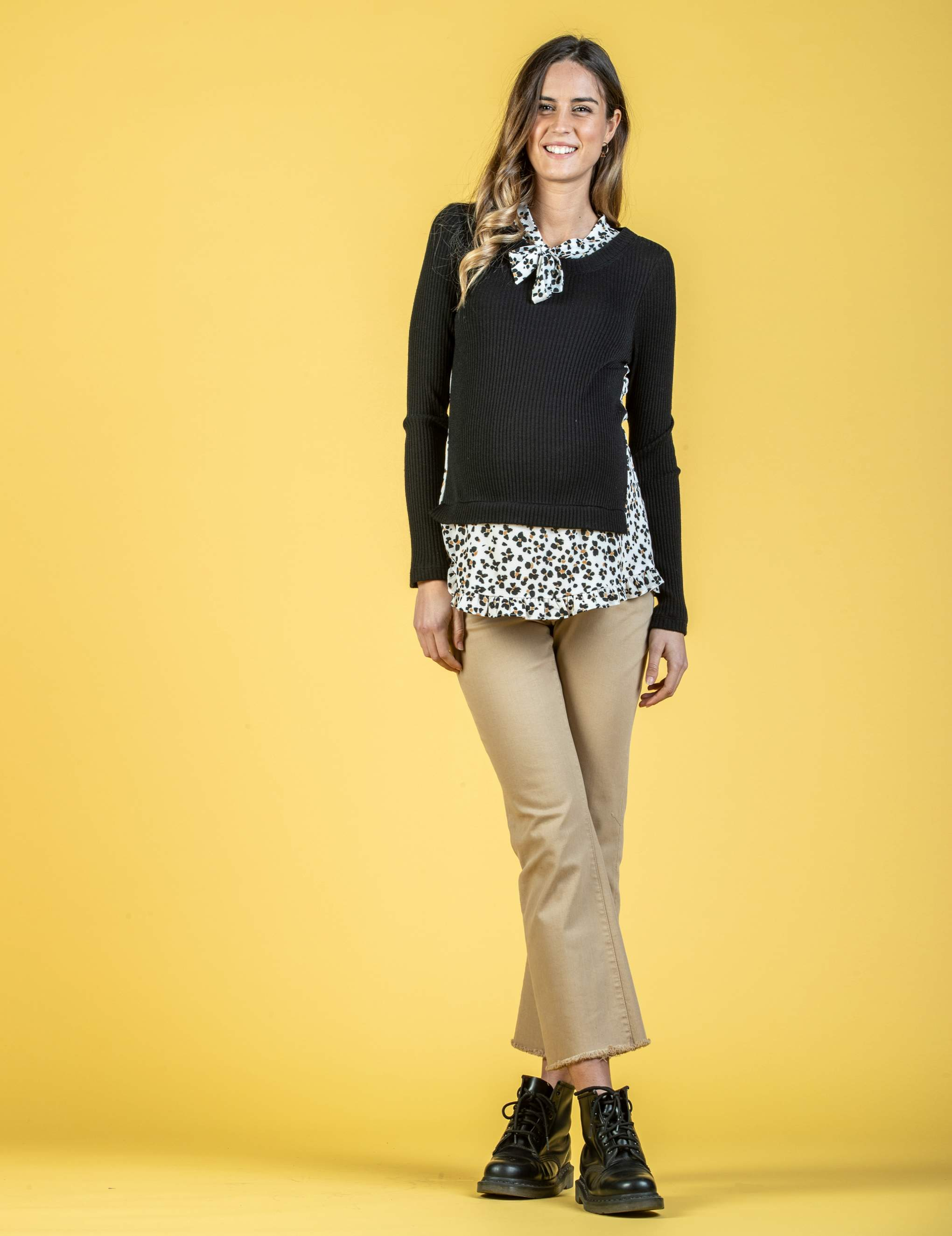 Faux Double Layered Maternity Top with Animalier Print