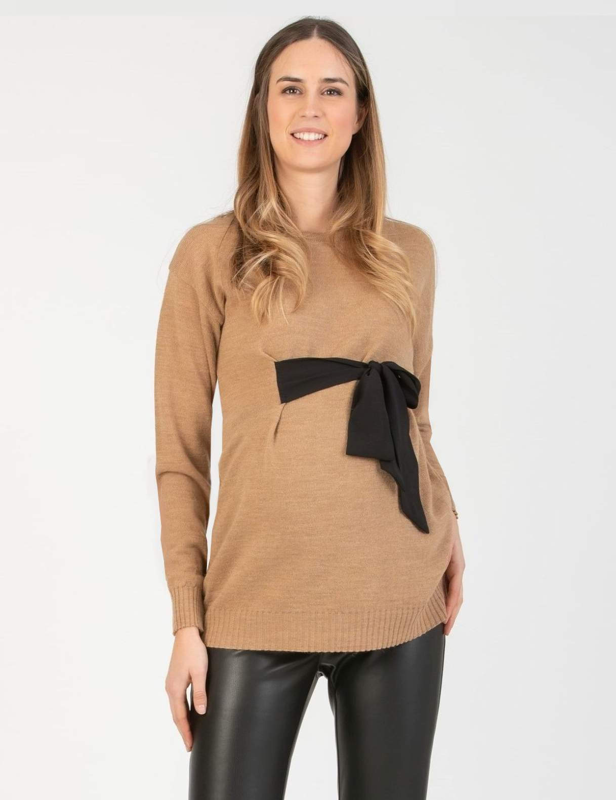 Maternity Sweater with Ribbons