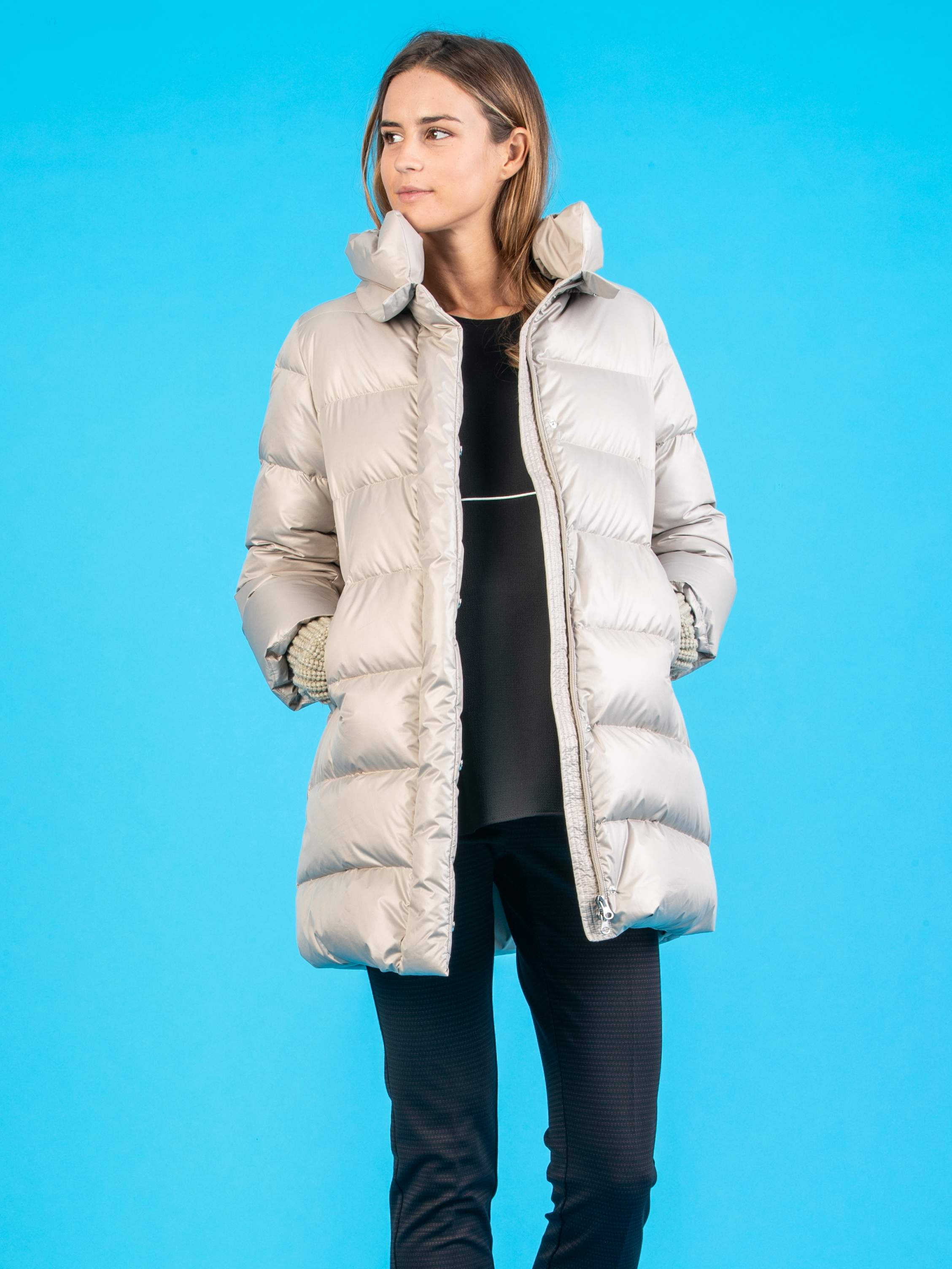 Goose Down Maternity Coat with Wool Muffs