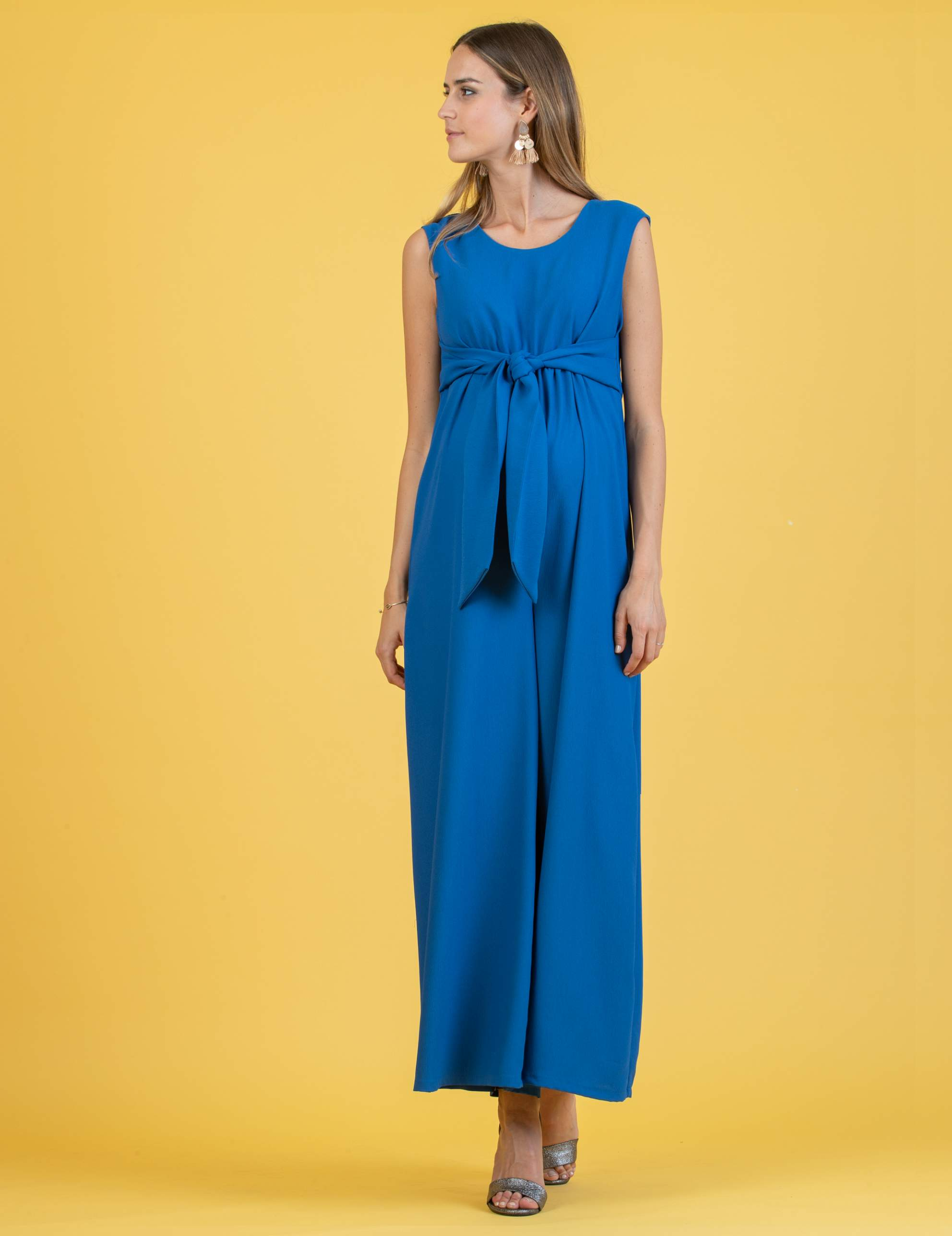 Wide Leg Maternity Jumpsuit with Front Ribbon