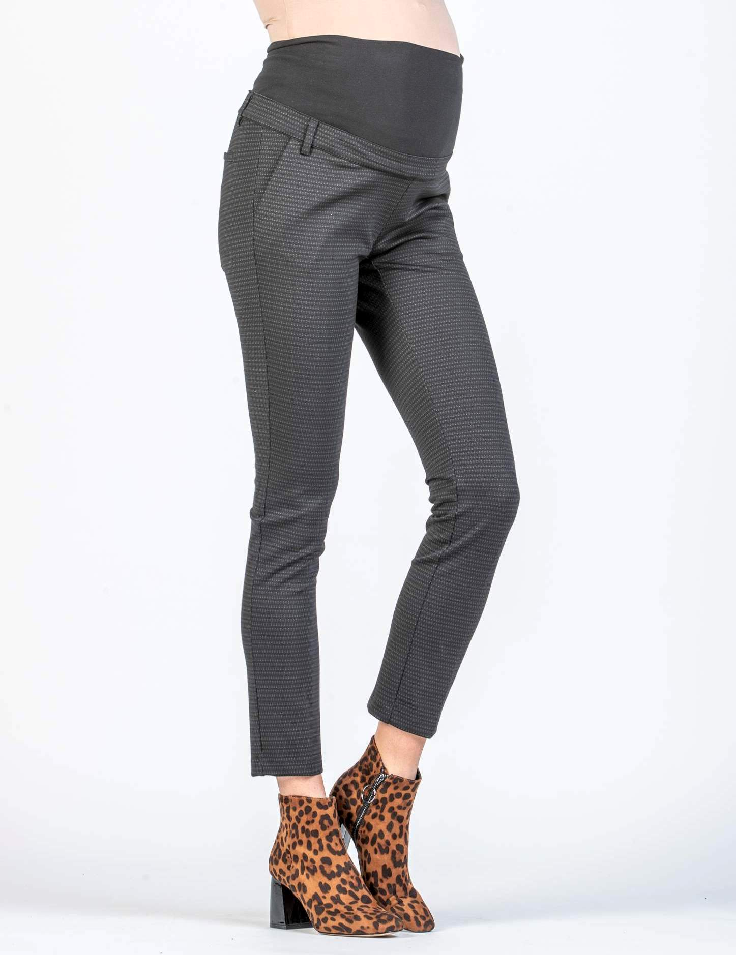 Maternity Skinny Cropped Trousers with Micro-pattern