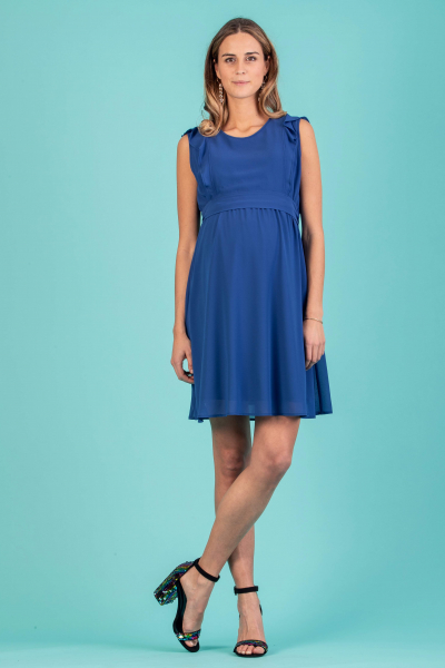 Maternity & Nursing Dress with Frilly Sleeves