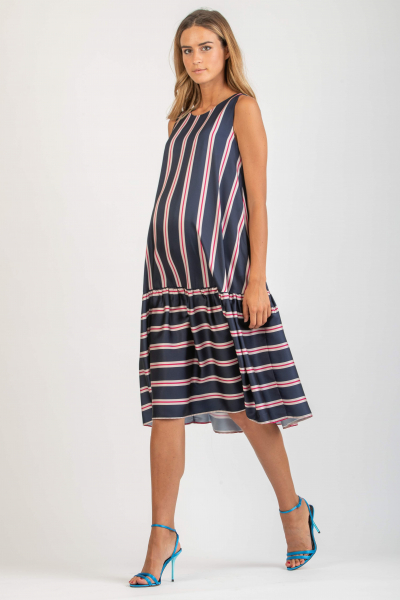 Midi Maternity Dress with Stripes