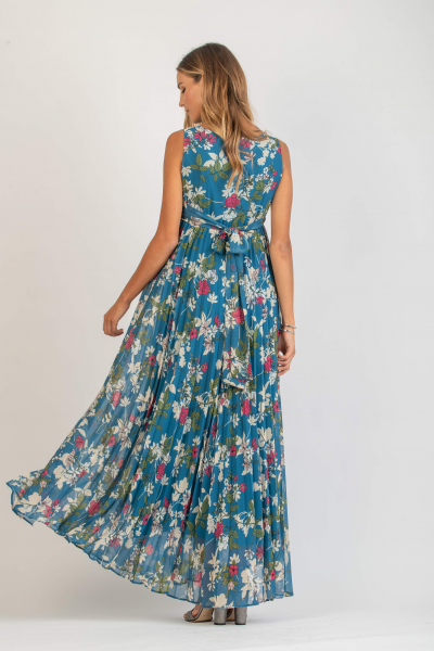 Floral Maternity Dress with Soleil Pleated Skirt