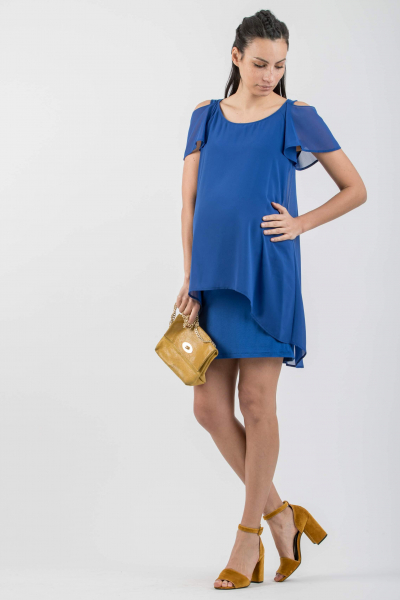 Frill Cold-Shoulder Maternity Dress