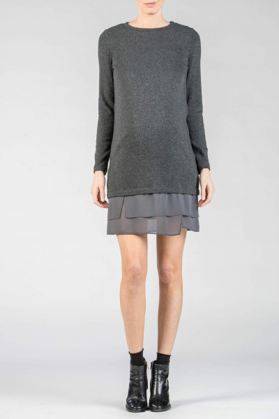 Wool Maternity Dress with Chiffon Frill