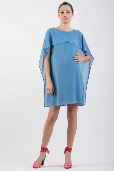 Maternity Dress with Asymmetrical Cape Sleeves
