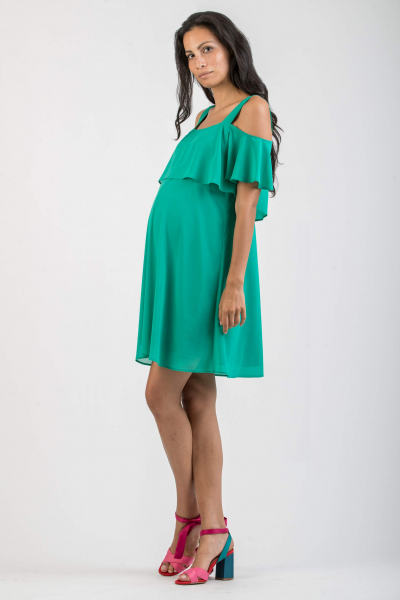 Maternity Dress with Frilled Sleeves