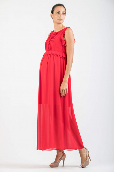 Maternity Long Dress with Frills