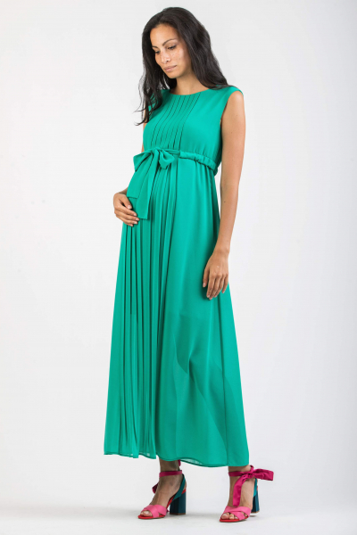 Long Pleated Maternity Dress