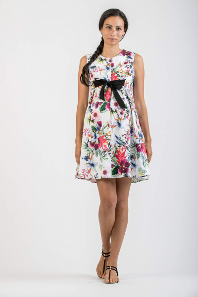 Printed Maternity & Nursing Dress with Bow