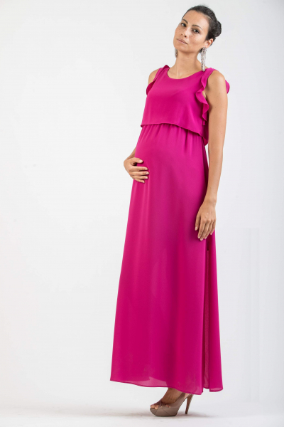 Long Maternity & Nursing Dress with Frill