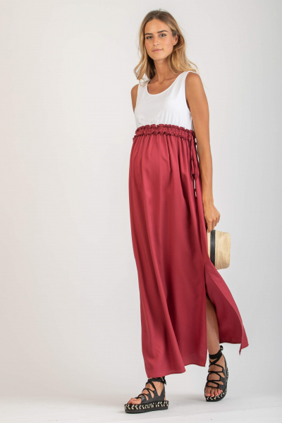 Long Empire Waist Maternity Dress with Elastic Band