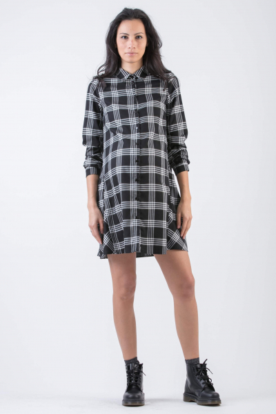 Checked Maternity Shirt Dress