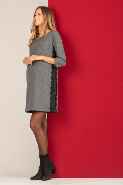 Maternity Checked Dress with Lace Side Stripes