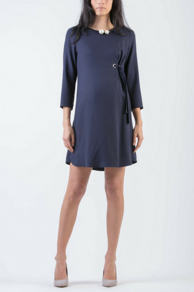 Viscose Maternity Dress with Metallic Eyelets
