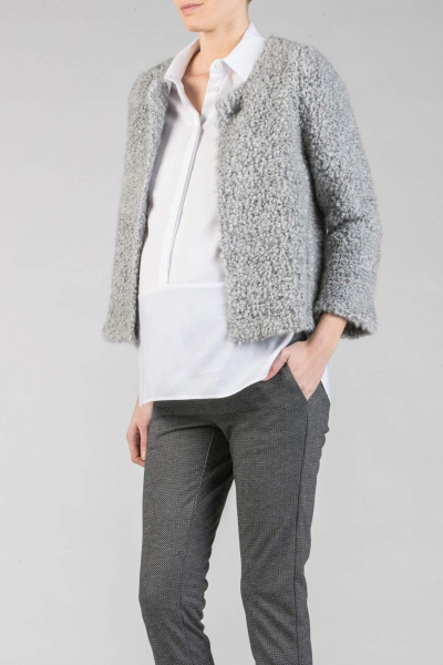 Bouclè Cropped Maternity Jacket