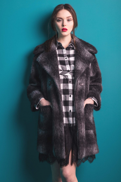 Checked Maternity Wool Coat