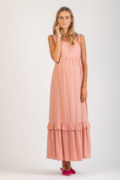 Long Maternity Dress with Flounce and Ruffle Trim
