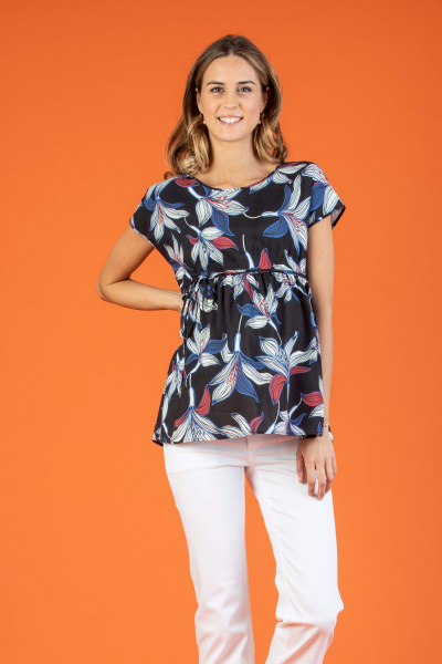 Leaf Printed Maternity Top with Side String