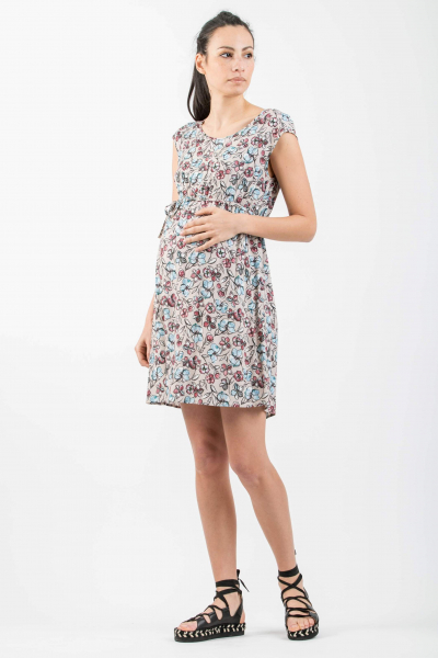 Printed Maternity Dress with Side String