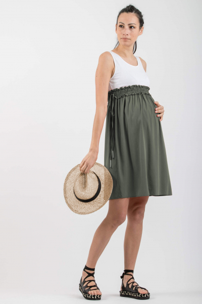 Empire Waist Maternity Dress with Elastic Band