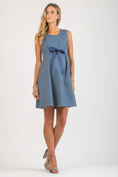 Polka Dot Maternity Dress with Bow